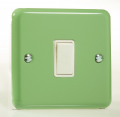 Varilight Pastel 1 Gang 10A 1 or 2 way Rocker Light Switch Beyrl Green XY1W.BG